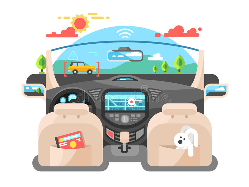 Car autopilot computer system. Car technology, auto transport, automotive navigation transportation, vector illustration stock illustration