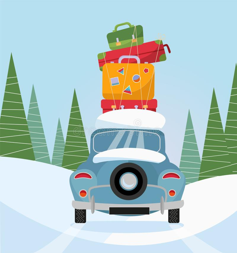 Car back View With stack of baggage on background of snow trees. Blue car with suitcases on the roof. Winter family traveling by vector illustration