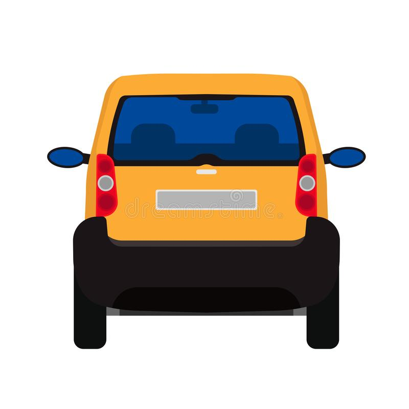 Car back view vector flat icon auto. Vehicle transport isolated white traffic cartoon drive. Modern travel silhouette design royalty free illustration