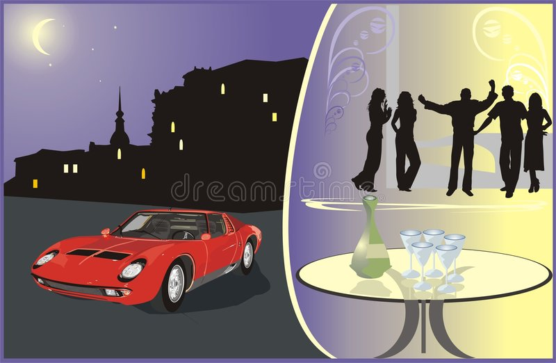 Car on a background a nightly city. Young people o stock photos