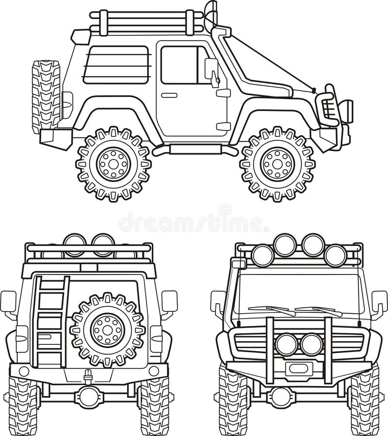 Car for bad roads. Car with big wheel for bad roads front back and side royalty free illustration