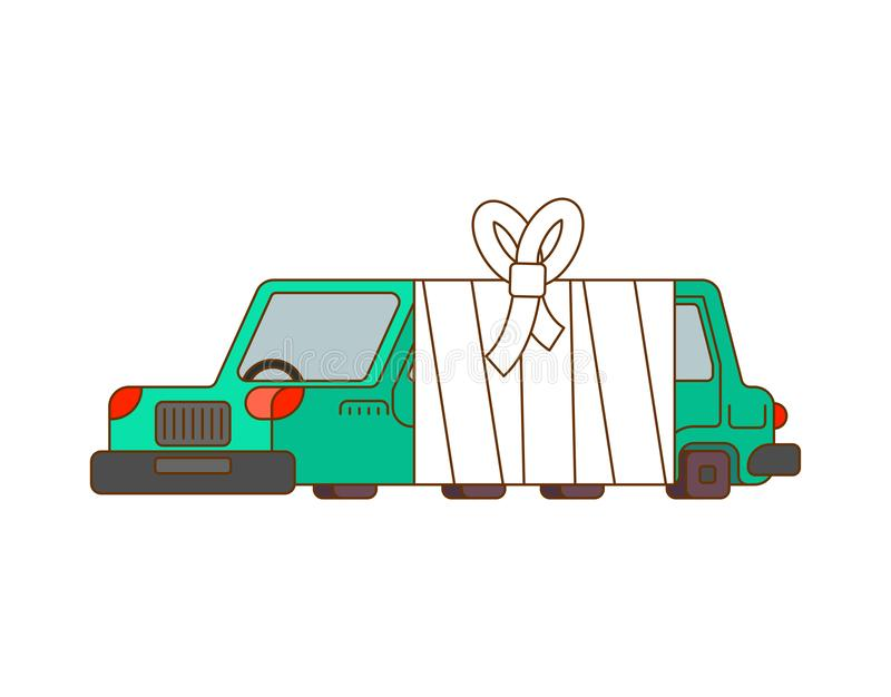 Car with bandages. Sick automobile in bandage. Auto help service.  vector illustration