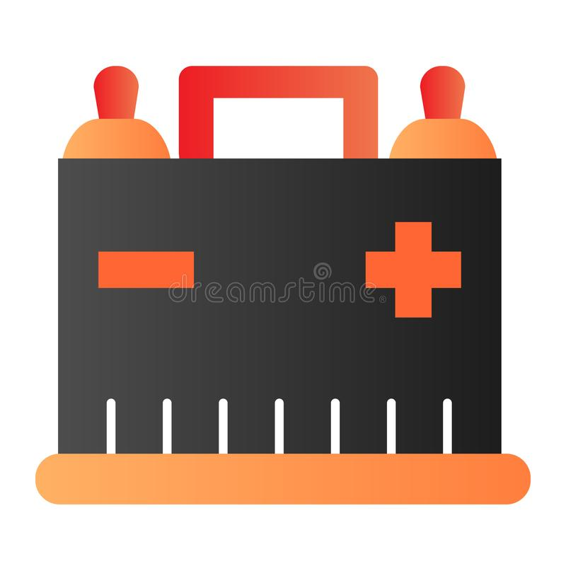 Car battery flat icon. Auto alkaline color icons in trendy flat style. Automobile accumulator gradient style design. Designed for web and app. Eps 10 royalty free illustration