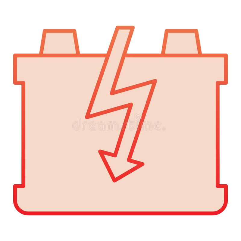 Car battery flat icon. Charge battery red icons in trendy flat style. Accumulator gradient style design, designed for. Web and app. Eps 10 vector illustration