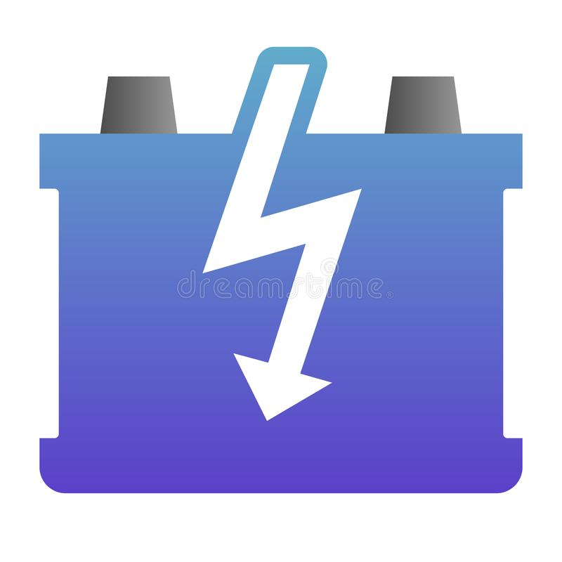 Car battery flat icon. Charge battery color icons in trendy flat style. Accumulator gradient style design, designed for. Web and app. Eps 10 royalty free illustration