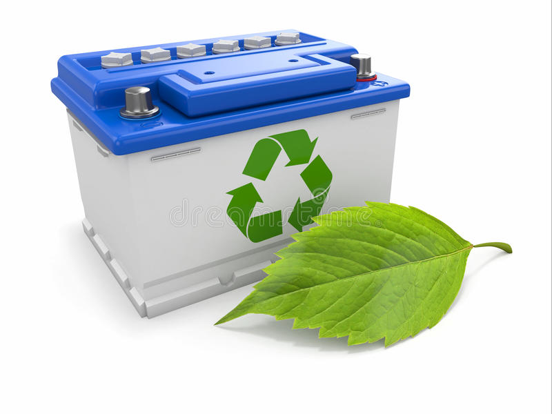 Car battery with green recycle sign and leaf