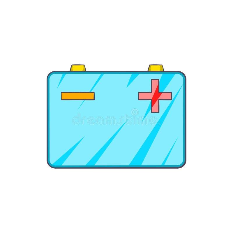 Car battery icon in cartoon style vector illustration