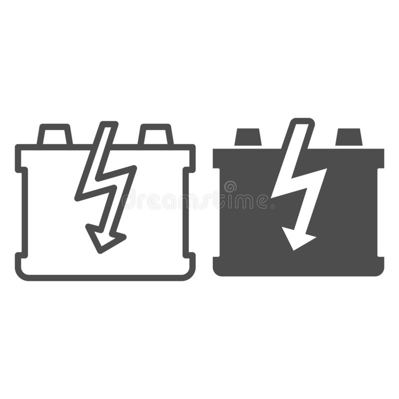 Car battery line and glyph icon. Charge battery vector illustration isolated on white. Accumulator outline style design. Designed for web and app. Eps 10 vector illustration