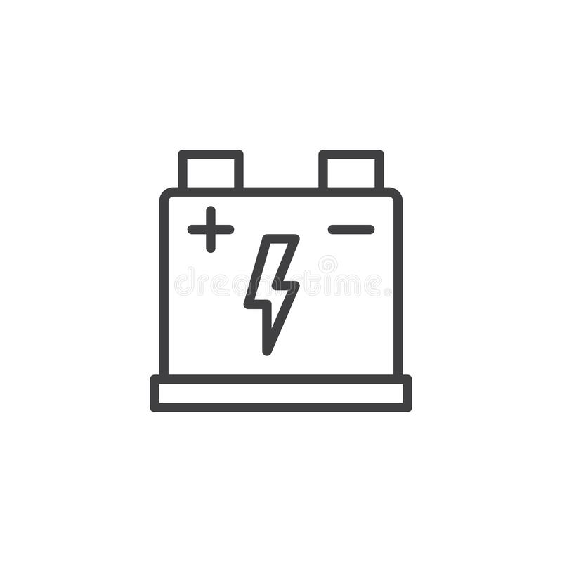 Car battery line icon stock vector. Illustration of perfect - 101988199