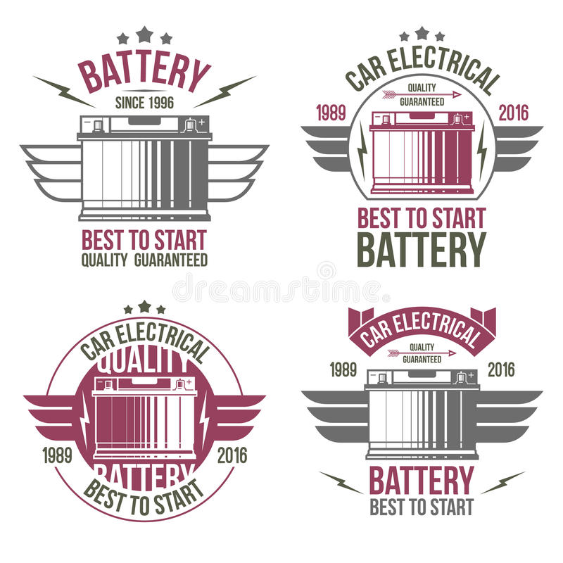 Car battery shop emblems royalty free illustration