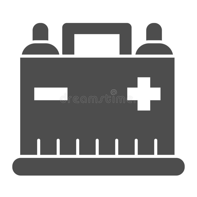 Car battery solid icon. Auto alkaline vector illustration isolated on white. Automobile accumulator glyph style design. Designed for web and app. Eps 10 vector illustration