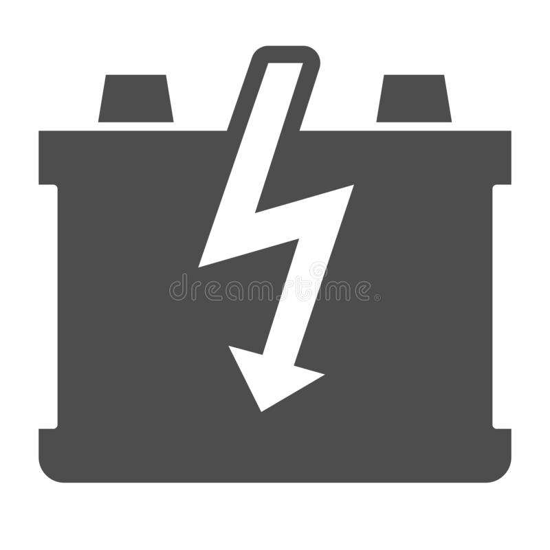 Car battery solid icon. Charge battery vector illustration isolated on white. Accumulator glyph style design, designed. For web and app. Eps 10 vector illustration