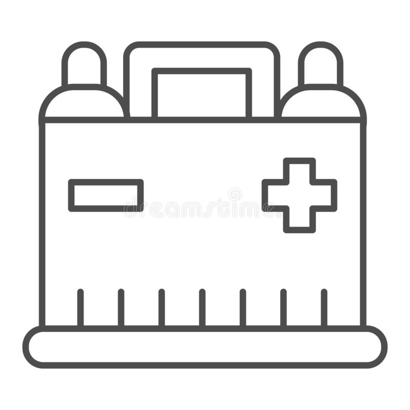 Car battery thin line icon. Auto alkaline vector illustration isolated on white. Automobile accumulator outline style. Design, designed for web and app. Eps 10 stock illustration