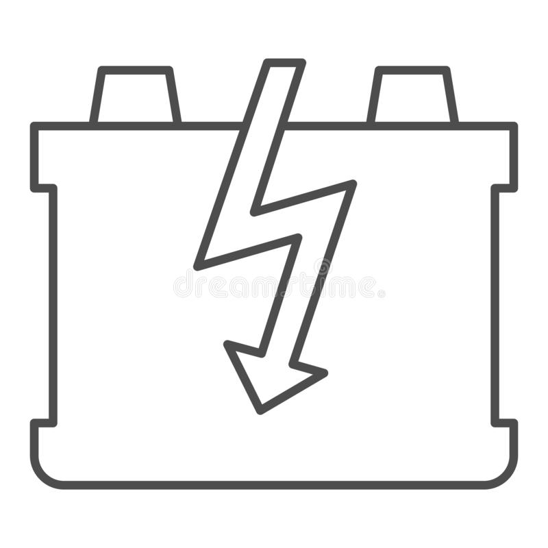 Car battery thin line icon. Charge battery vector illustration isolated on white. Accumulator outline style design. Designed for web and app. Eps 10 vector illustration