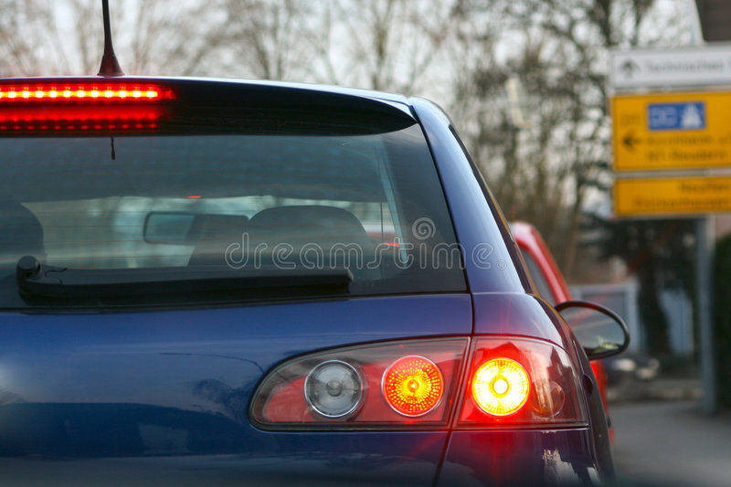 Download Car from behind stock photo. Image of sign, brakes, left - 3198506