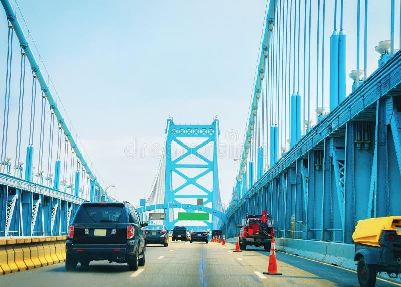 Car on Benjamin Franklin Bridge in New Jersey stock image