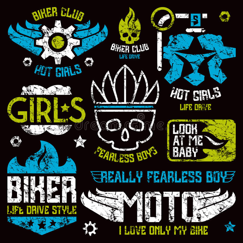 Car and biker masculine badges. Graphic design elements with shabby texture for t-shirt. Color print on black background stock illustration