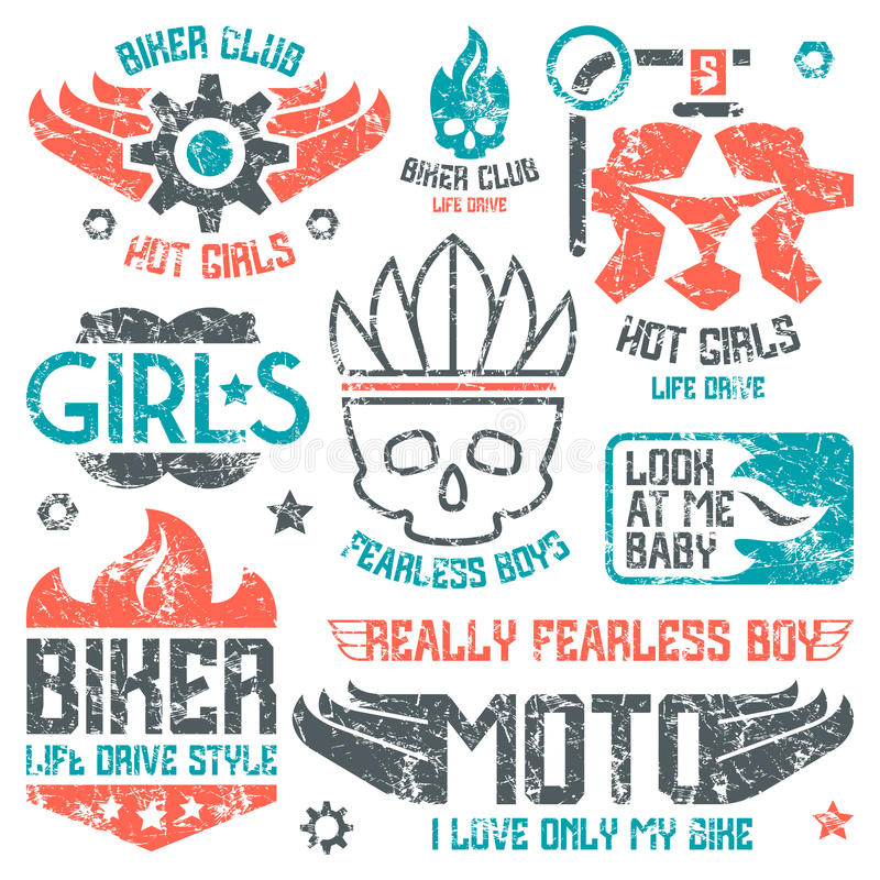 Car and biker masculine badges. Graphic design elements with shabby texture for t-shirt. Color print on white background vector illustration