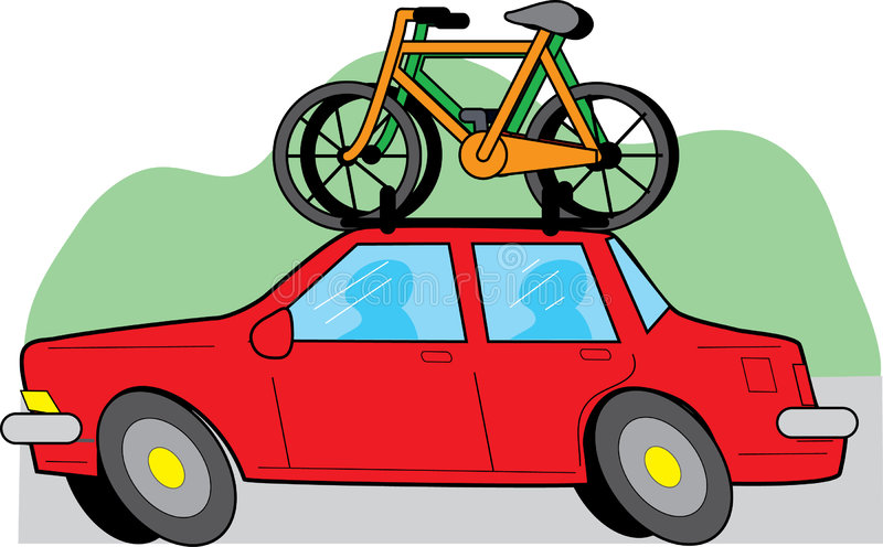 Car and Bikes. Travelling red car with two bikes on the roof royalty free illustration