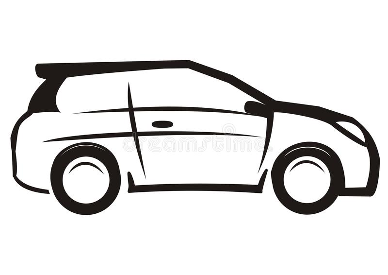 Car, Black And White Sketch, Vector Icon Stock Vector - Illustration ...