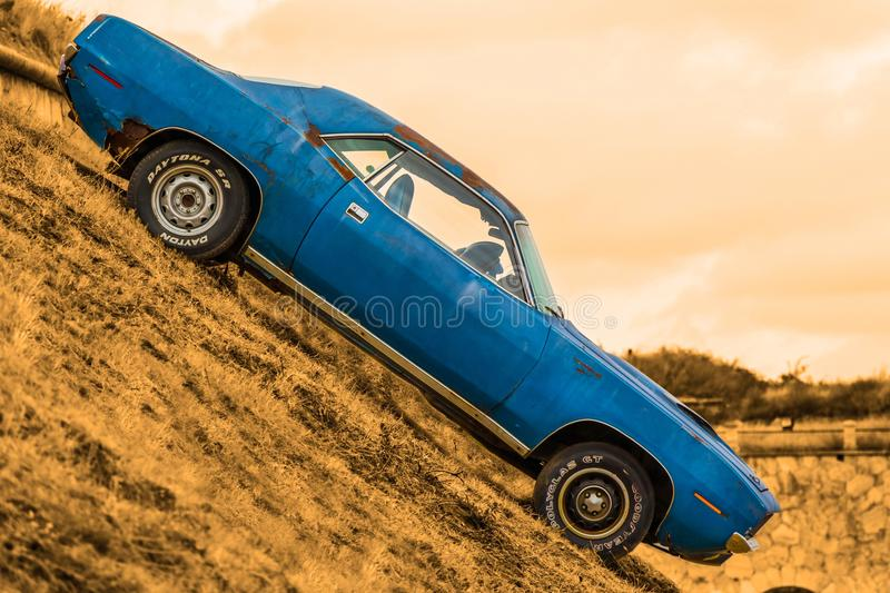 Car, Blue, Motor Vehicle, Yellow royalty free stock image