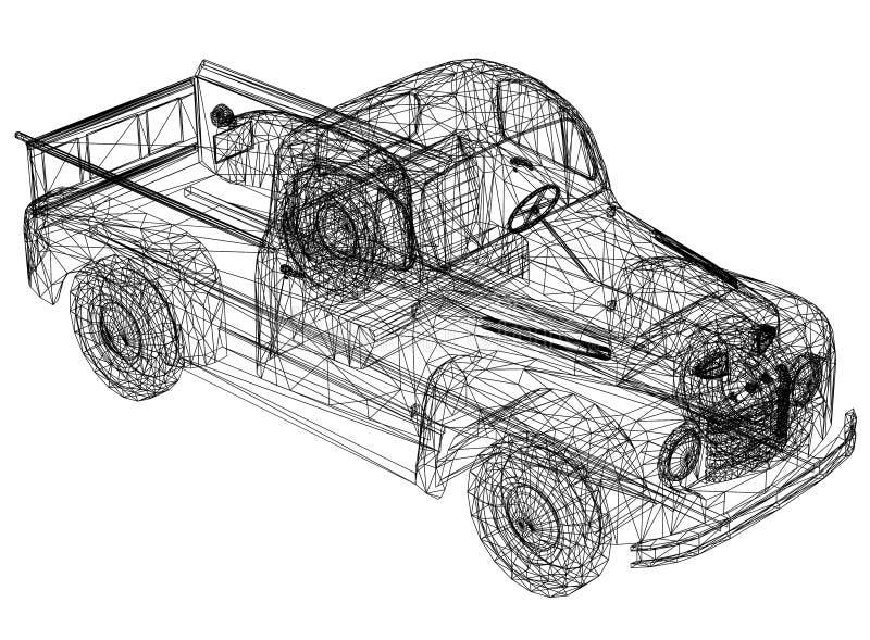 Car blueprint – 3D perspective vector illustration