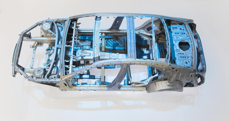 Car body frame part. Automobile structure of sedan. Car frame, also called crossbeam, is the framework of the whole car