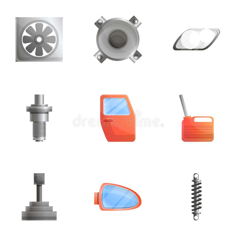 Car body parts icon set, cartoon style vector illustration