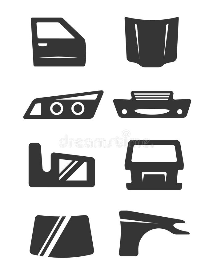 Car body parts icon set stock vector. Illustration of shop - 97935463