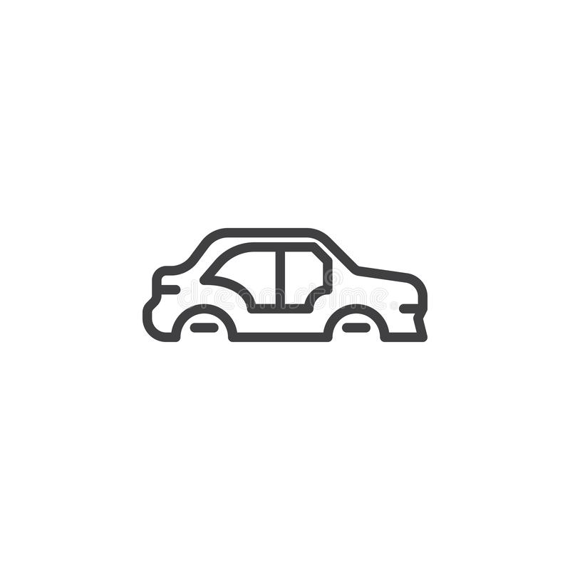 Car body repair line icon. Linear style sign for mobile concept and web design. Car body side view outline vector icon. Symbol, logo illustration. Pixel royalty free illustration