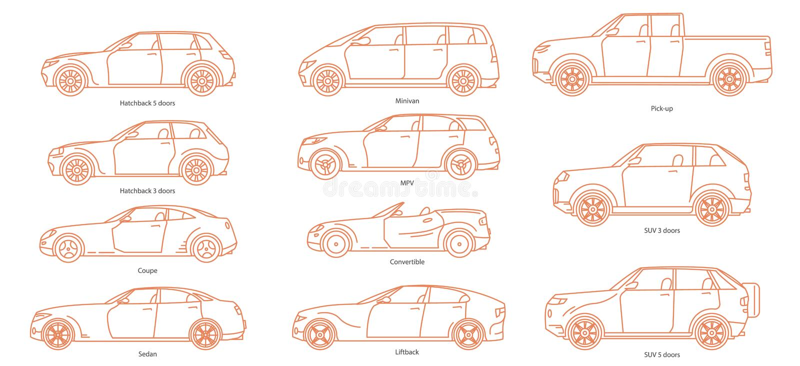 Car body style. Passenger Coupe. Outline Pickup Sedan Hatchback and Convertible SUV Minivan MPV. Three and five-door stock illustration
