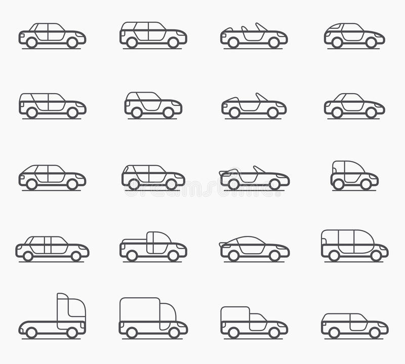 Car body types icons. Car body types vector icon set vector illustration