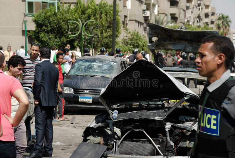 Download Car Bombing Targeting Egypt's Interior Minister Editorial Image - Image of egypt, explosion: 33419795