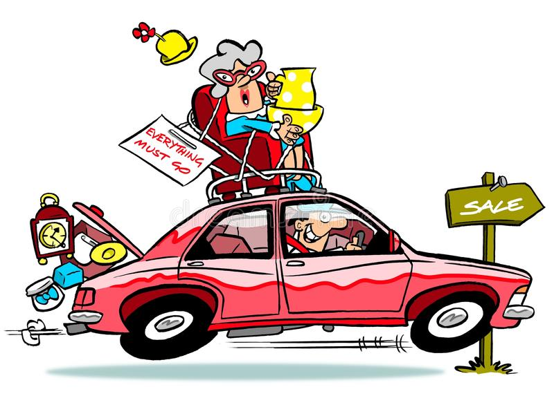 Car going to car boot sale stock illustration. Illustration of ...