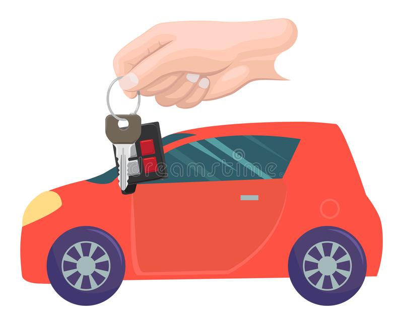 Car Property and Keys in Hands, Buying Vehicle. Car bought by character vector, hand with keys. Property transportation. Automobile of modern type, owner with stock illustration