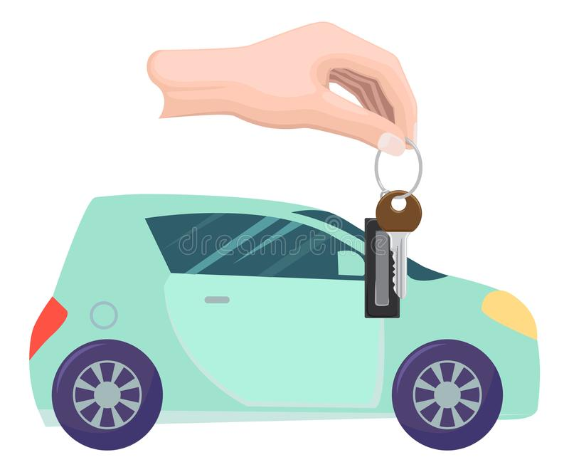 Car Property and Keys in Hands, Buying Vehicle. Car bought by character vector, hand with keys. Property transportation flat style. Automobile of modern type stock illustration
