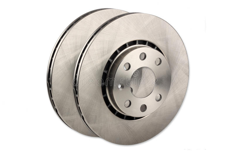 Car brake disc. A pair of car brake disc isolated on white background stock image