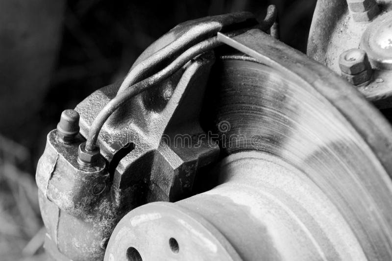 Car brake disc with brake caliper. When the wheel is removed royalty free stock photography