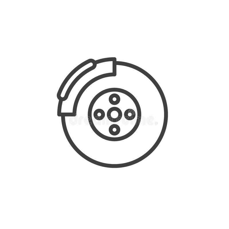 Car brake disc line icon. Linear style sign for mobile concept and web design. Brake shoe outline vector icon. Symbol, logo illustration. Pixel perfect vector royalty free illustration