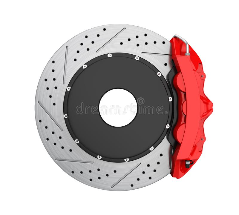 Car Brake Disc and Red Caliper Isolated. On white background. 3D render vector illustration