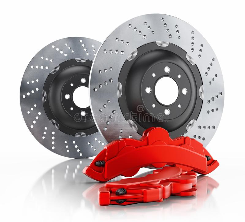 Car brake disc and red caliper isolated on white. Background. 3D illustration vector illustration