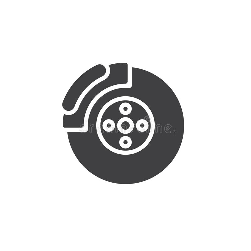 Car brake disc vector icon. Filled flat sign for mobile concept and web design. Brake shoe glyph icon. Symbol, logo illustration. Pixel perfect vector graphics stock illustration