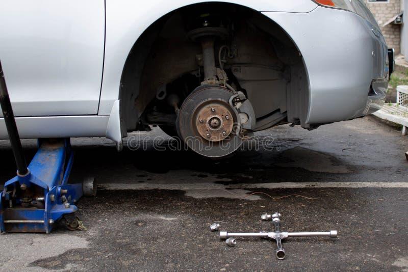 Car brake disc without wheel. Closeup royalty free stock photography