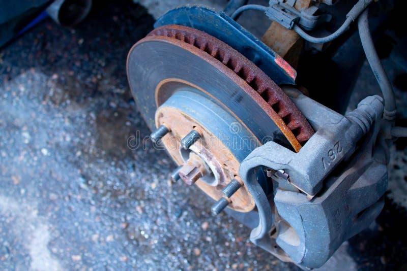 Car brake disc without wheel. Closeup stock photography