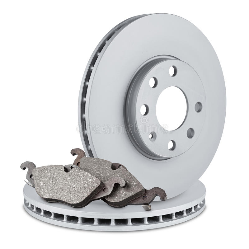 Car brake discs and pads royalty free stock photos