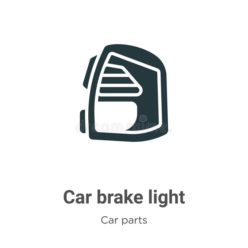 Car brake light vector icon on white background. Flat vector car brake light icon symbol sign from modern car parts collection for. Mobile concept and web apps stock illustration