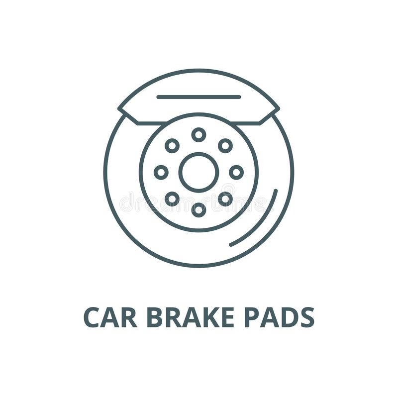 Car brake pads vector line icon, linear concept, outline sign, symbol. Car brake pads vector line icon, outline concept, linear sign royalty free illustration