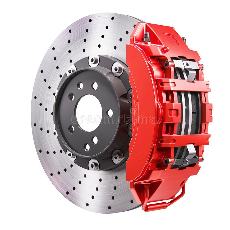 Car brakes mechanism. Disk and red caliper. 3d render. Car brakes mechanism. Disk and red caliper. 3d vector illustration