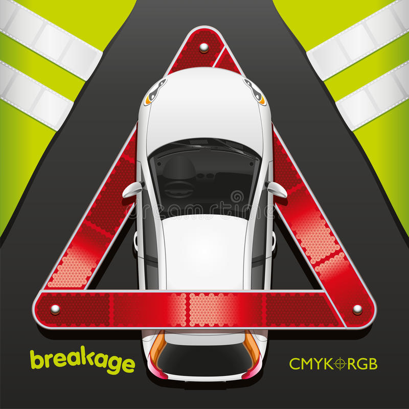 Car and Breakdown Triangle royalty free illustration