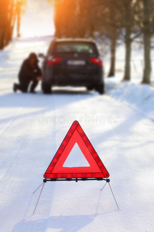 Car with a breakdown in the winter stock image